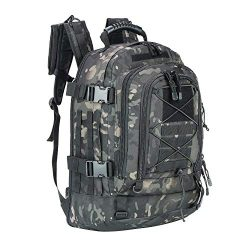 Military Expandable Travel Backpack Tactical Waterproof Work Backpack for Men(black-multicam)