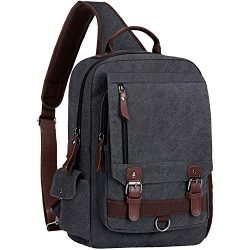WOWBOX Sling Bag for Men Women Sling Backpack Laptop Shoulder Bag Retro Canvas Crossbody Messeng ...