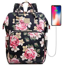 Laptop Backpack,15.6 Inch Stylish College School Backpack with USB Charging Port,Water Resistant ...