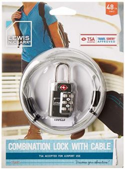 TSA-Accepted Luggage Locks with TravelSentry: 3-Dial Combination Lock + 48in Coated Steel Cable, ...
