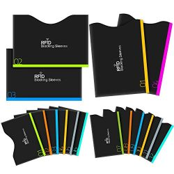Aerb RFID Blocking Sleeves, Set of 16 (12 Credit Card Holders & 4 Passport Protectors) for I ...