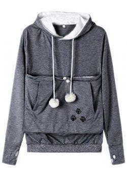 Anbech Women Big Kangaroo Pouch Hoodie Long Sleeve Pet Cat Dog Holder Carrier Sweatshirt S-4XL ( ...