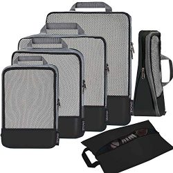 6 Set Compression Packing Cubes Travel Expandable Packing Organizers(Black)