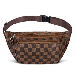 Fashion Fanny Pack for Women, Premium Checkered Waist Belt Bag, Classic Luxury Bag for Travel &# ...