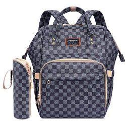Ibeacos Diaper Bag Backpack Baby Diaper Backpack Convertible Travel Tote Diaper Bag PU Leather W ...