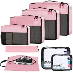 BAGAIL 8-Pcs Luggage Packing Organizers Packing Cubes for Travel Accessories Pink