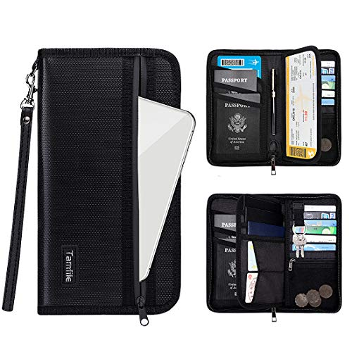 Family Passport Holder RFID Travel Wallet Waterproof & Fireproof Tickets Itinerary Document  ...