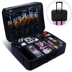 Relavel Makeup Train Case 3 Layer Large Size Professional Cosmetic Organizer Make Up Artist Box  ...
