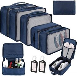 DIMJ 10 Set Packing Cubes, Travel Luggage Organizers Durable Oxford Double Zipper With Large Sho ...