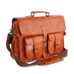 Mens Messenger Bag 17 Inch Vintage Handmade PU Briefcase for Laptop Best Computer Satchel for Bu ...