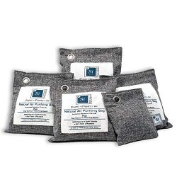 Bamboo Activated Charcoal Air Purifying Bags – 4 (200g) Pack Plus 50g Bonus bag, Upgraded  ...