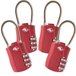 4 Pack TSA Approved Travel Luggage Combination Cable Locks for Suitcases, Backpake (Red)