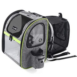 Pecute Dog Carrier Backpack Pet Backpack with Ventilated Breathable Mesh Portable Pet Expandable ...