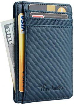 Travelambo Front Pocket Minimalist Leather Slim Wallet RFID Blocking Medium Size(carbon fiber te ...