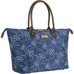 Chaps Oversized Bag Travel Tote Spring Paisley Navy, One Size