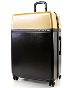 Calvin Klein 28″ Hardside Spinner Luggage with TSA Lock, Black/Gold
