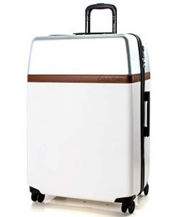 Calvin Klein 28″ Hardside Spinner Luggage with TSA Lock, White/Silver