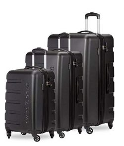 SWISSGEAR 7366 Expandable 3 PC Hardside Spinner Luggage (Set, Black)