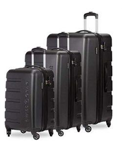 SWISSGEAR 7366 Expandable 3 PC Hardside Spinner Luggage (Set, Black)