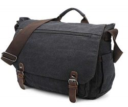 Gimay 15 inch Laptop Messenger Bag Canvas Briefcase Computer Bag (Black)