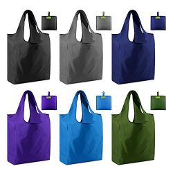 Grocery Bags Reusable Shopping Totes Foldable 6 Pack Ripstop 50LBS XLarge folding Bags with Pouc ...