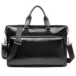 MANTOBRUCE Leather Briefcase Shoulder Laptop Business Vintage Simple bag 15″ Messenger Han ...
