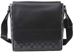 Coach Men's Houston Map Messenger Bag Signature Leather in Charcoal/Black, Style F73339