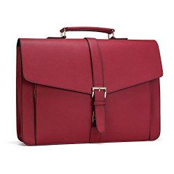 Estarer Women Leather Briefcase for Travel Office Business 15.6inch Laptop Messenger Bag