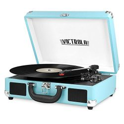 Innovative Technology VSC-550BT-TQ Victrola Vintage 3-Speed Bluetooth Suitcase Turntable with Sp ...