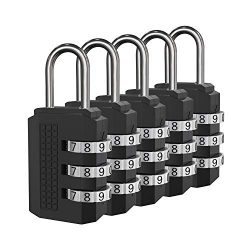 Padlock, Combination Lock, 5 Black Digit Luggage Locks, Perfect Travel Locks for Suitcase &  ...