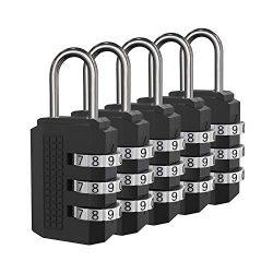 Padlock, Combination Lock, 5 Black Digit Luggage Locks, Perfect Travel Locks for Suitcase &  ...