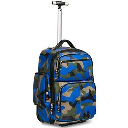 20 inches Big Storage Waterproof Wheeled Rolling Backpack Travel Luggage for Boys Students Schoo ...