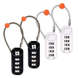 Reset Luggage Locks, Combination Travel Cable Lock, 4 Pack of Re-settable 4-Digit Padlocks with  ...