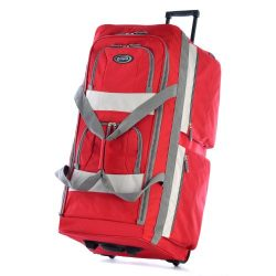 Olympia 8 Pocket Rolling Duffel Bag, Red