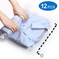 VacPack 12 Travel Compression Bags – No Vacuum or Pump Needed – Roll-Up Space Saver  ...