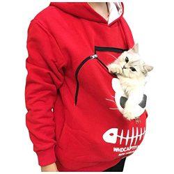 Womens Pet Carrier Hoodies, Cat Dog Holder Pouch Pullover Sweatshirt Kangaroo Pocket Holder Brea ...
