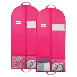 MASKEYON 51″ Garment Bags with Zipper Pocket for Dance Costume,Wedding Gown,Suit,Garment B ...