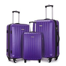 COOMEE Luggage Sets 3PCS Hardshell Lightweight Spinner Suitcase sets 20″24″28″ ...