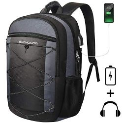 Laptop Backpack, SEEHONOR Travel Laptop Backpack with USB Charging Port, 15.6 Inch Slim Business ...