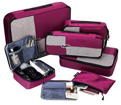 TripDock Various Packing Cubes 6 Set- Lightweight Travel Luggage Organizers, Wine red