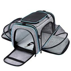 MASKEYON Airline Approved Pet Carrier, Large Soft Sided Pet Travel TSA Carrier 4 Sides Expandabl ...