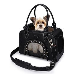 PetsHome Dog Carrier Purse, Pet Carrier, Cat Carrier, Foldable Waterproof Premium Leather Pet Tr ...