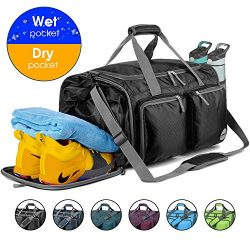 WANDF Foldable Gym Bag Packable Travel Duffle with Large Wet Bags & Shoes Compartment, Super ...