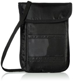 AmazonBasics RFID Travel Neck Passport Holder Wallet – Black