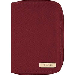 Travelon RFID Blocking Passport Zip Wallet, Garnet