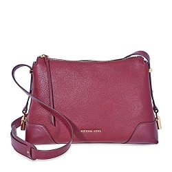 Michael Kors Crosby Medium Pebbled Leather Messenger Bag- Oxblood