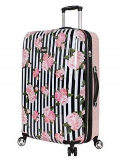 Betsey Johnson 26 Inch Checked Luggage Collection – Expandable Scratch Resistant (ABS + PC ...
