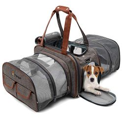 Premium Double Expandable Airline Approved Pet Carrier, Soft Sided Cat and Dog Carrier Bag, Pet  ...