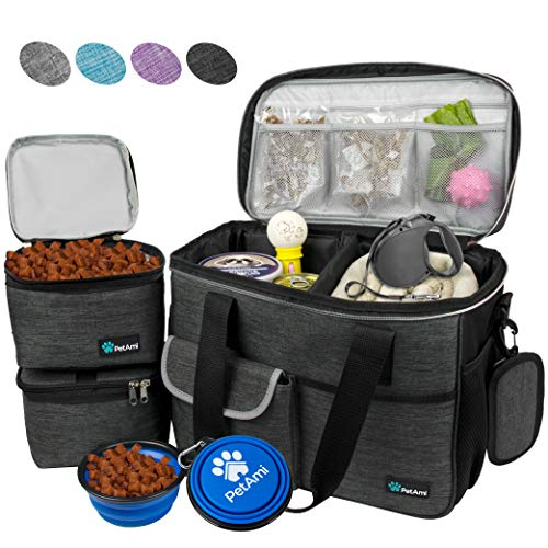 PetAmi Pet Travel Bag | Airline Approved Tote Organizer with Multi-Function Pockets, Food Contai ...