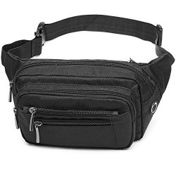 Packism Fanny Pack, 6 Zipper Pockets Fanny Pack for Men Women, Sport Waist Pack Bag Travel Hikin ...